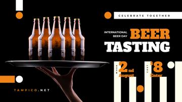 Beer Day Tasting Bottles on Tray | Facebook Event Cover Template