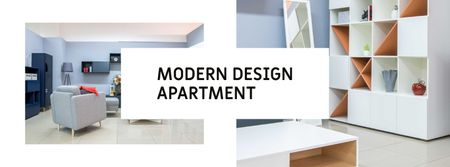Modern Living Room Interior Facebook cover – шаблон для дизайну