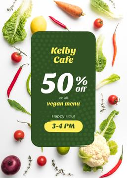 Happy Hour Cafe Offer Fresh Vegetables | Flyer Template