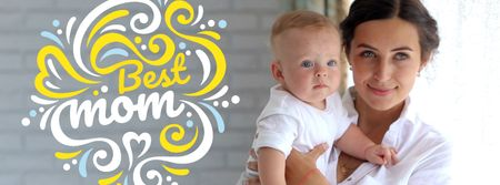 Template di design Mother's Day with Loving Mom Holding Child Facebook Video cover