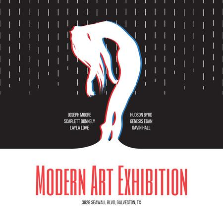 Ontwerpsjabloon van Instagram AD van Modern Art Exhibition announcement Female Silhouette