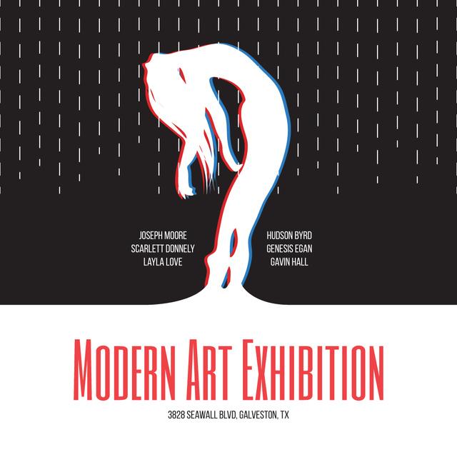 Modern Art Exhibition announcement Female Silhouette Instagram ADデザインテンプレート