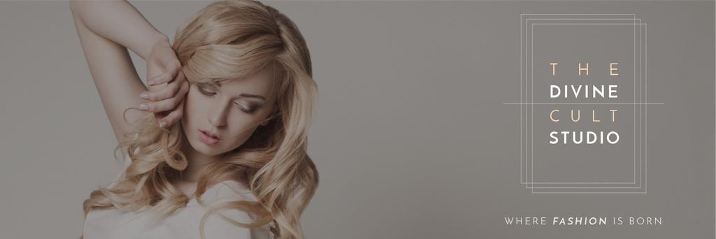 Beauty Studio Ad Woman with Blonde Hair — Crea un design