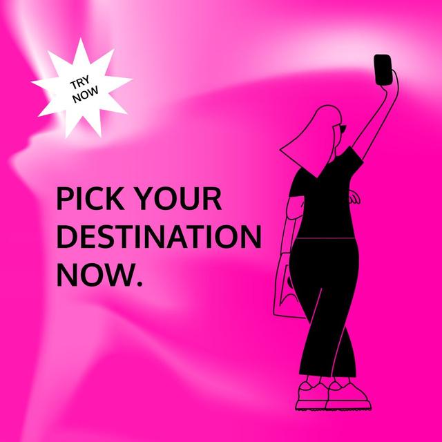 Ontwerpsjabloon van Animated Post van Booking App Services ad with Girl taking Selfie