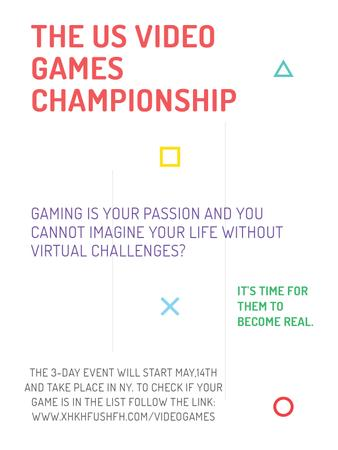 Video Games Championship announcement Poster US – шаблон для дизайну