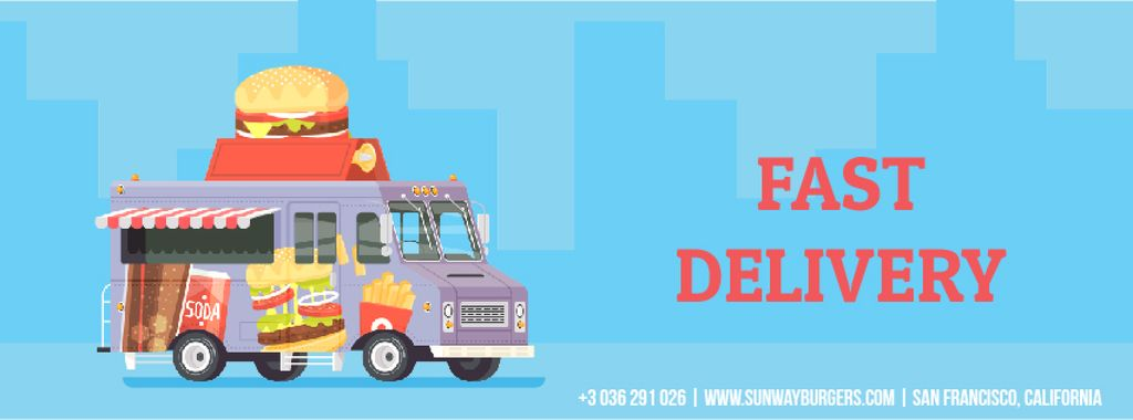 Food Delivery Van with Burger | Facebook Video Cover Template — Создать дизайн