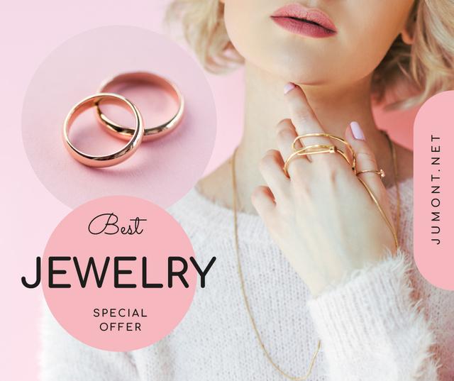 Plantilla de diseño de Jewelry Sale Woman in Precious Rings Facebook