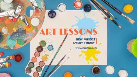 Designvorlage Art Lecture Series with Brushes and Palette für Youtube