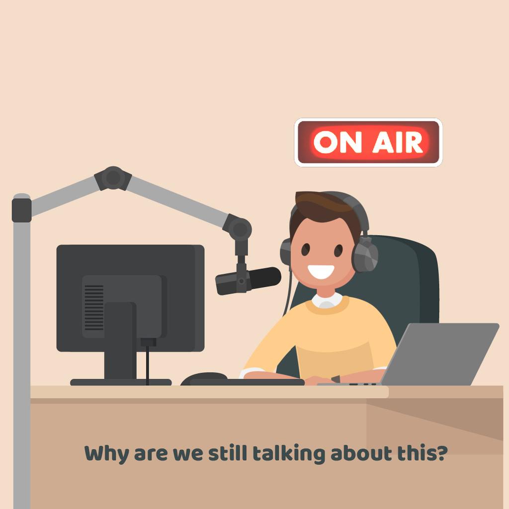 Radio host at radio show — Crear un diseño