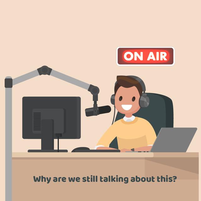 Radio host at radio show Animated Post Modelo de Design