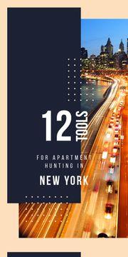Night city traffic lights in New York