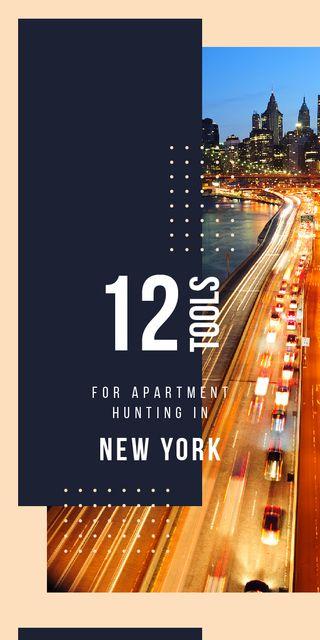 Night city traffic lights in New York Graphic Modelo de Design