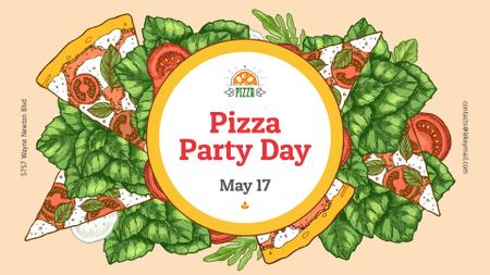 Ontwerpsjabloon van FB event cover van Pizza Party Day Margherita frame