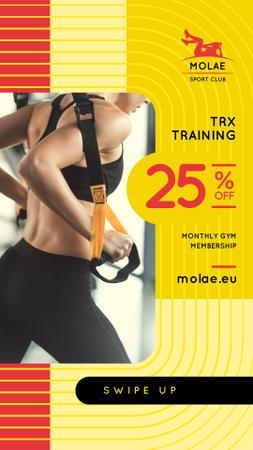 Modèle de visuel Woman Resistance Training in Gym - Instagram Story