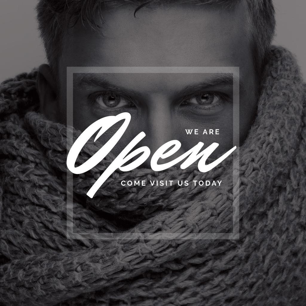 open day banner with handsome young man in scarf — Створити дизайн