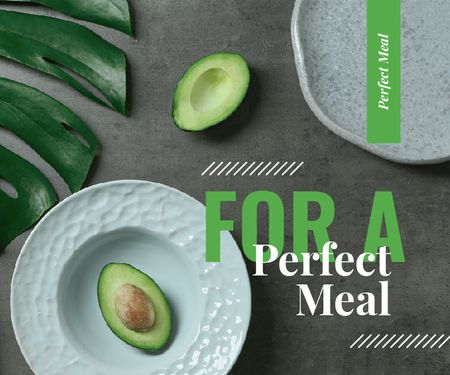 Green Avocado Halves on Table Large Rectangle Design Template