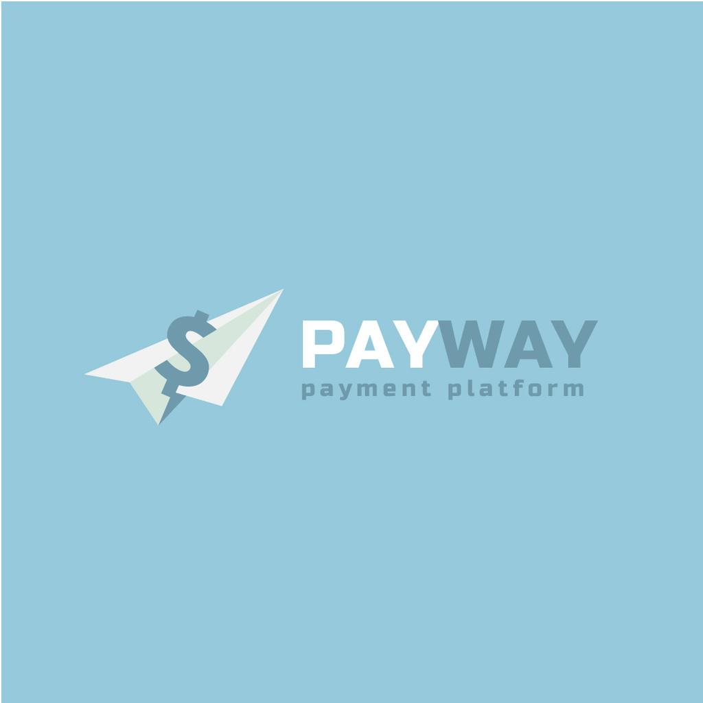 Payment Platform Ad Dollar on Paper Plane | Logo Template — Створити дизайн