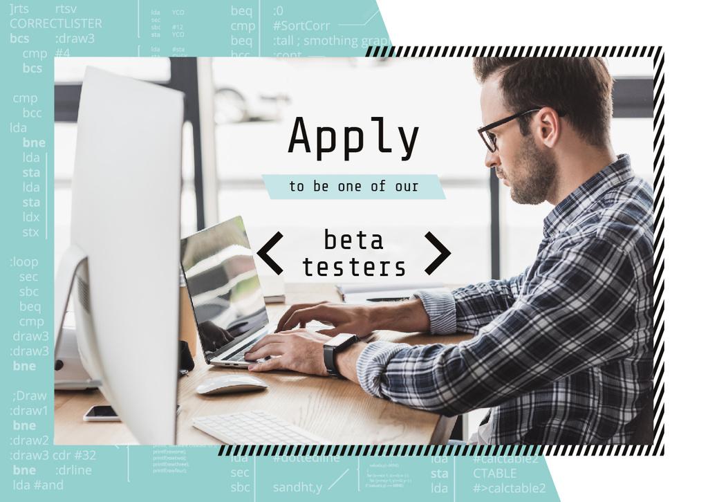Beta Testers Search Announcement Man Typing on Laptop Card – шаблон для дизайна