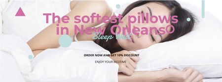Template di design The softest pillows with sleeping Girl Facebook cover