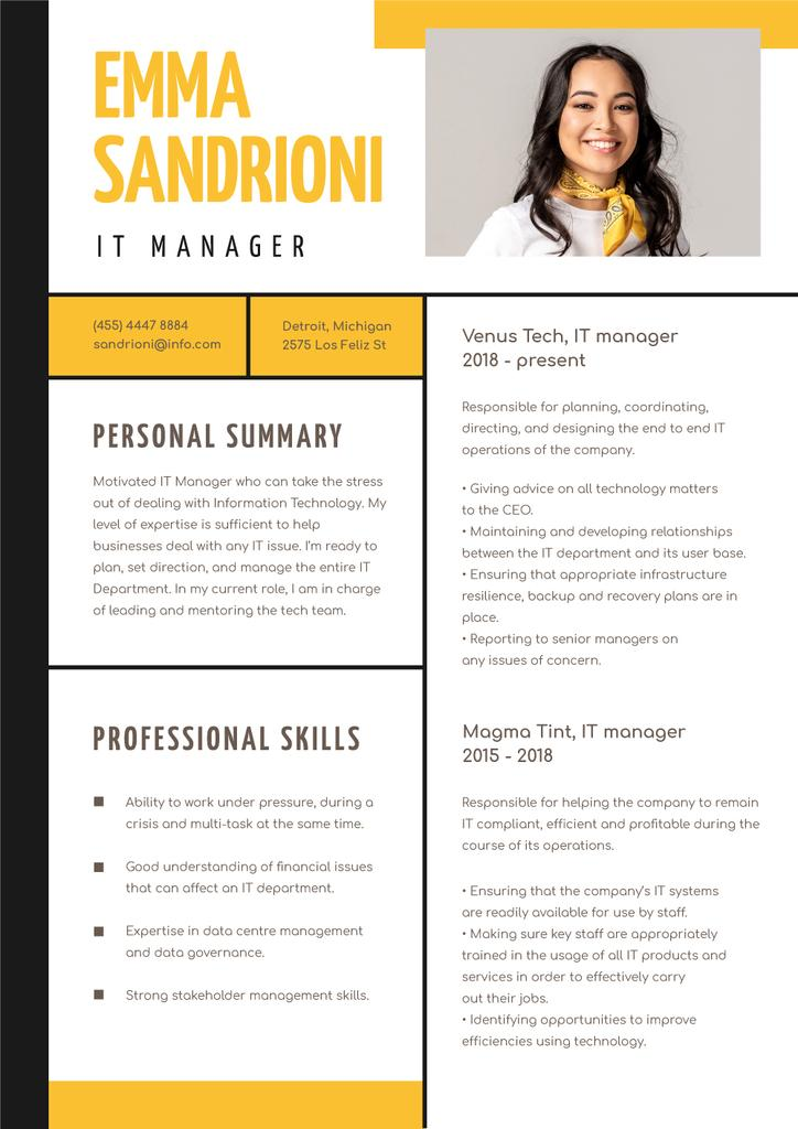 IT Manager professional skills and experience — Maak een ontwerp