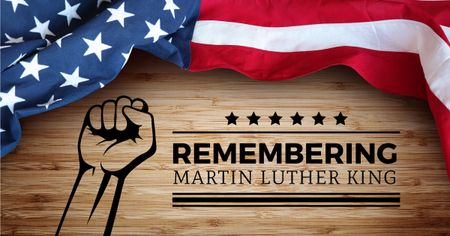 Plantilla de diseño de Martin Luther King day with American Flag Facebook AD