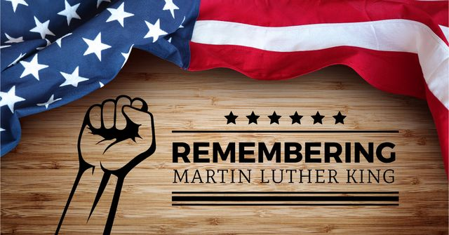Modèle de visuel Martin Luther King day with American Flag - Facebook AD
