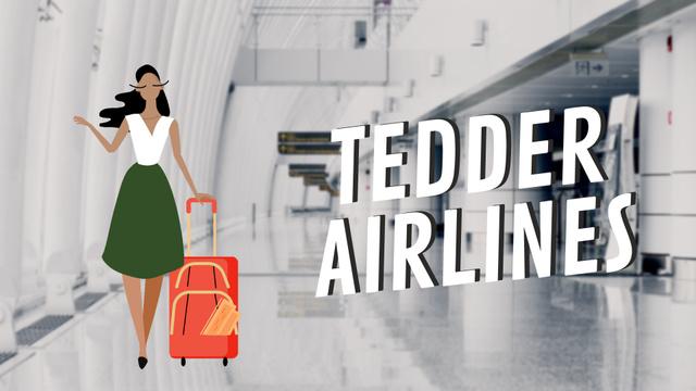 Girl with Luggage Walking in Airport Hall Full HD video Tasarım Şablonu