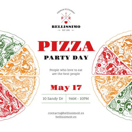 Pizza Party Day Invitation Instagram Tasarım Şablonu