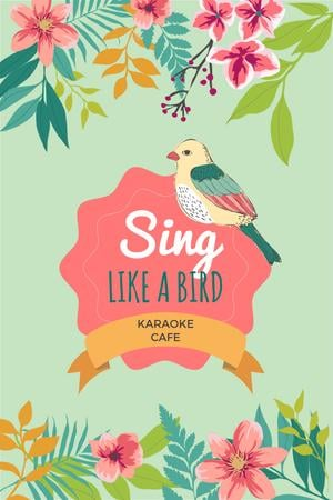 Ontwerpsjabloon van Pinterest van Karaoke Cafe Ad with Cute Singing Bird in Flowers