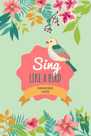 Plantilla de diseño de Karaoke Cafe Ad with Cute Singing Bird in Flowers Pinterest