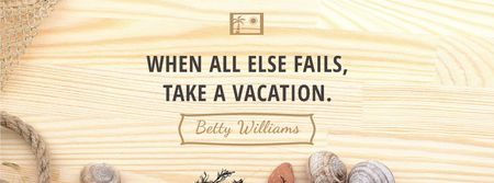 Ontwerpsjabloon van Facebook cover van Vacation Inspiration with Shells on Wooden Board
