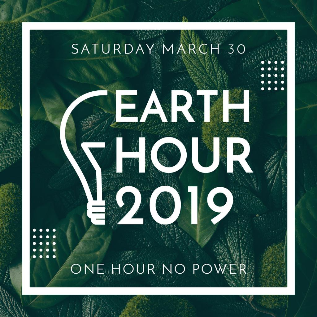 Earth hour event of green leaves — Create a Design