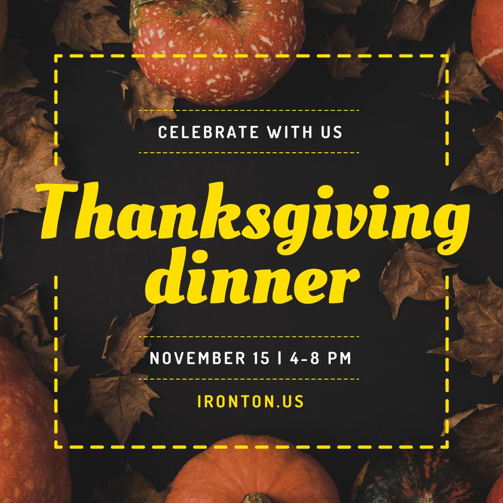 Thanksgiving Dinner Invitation Decorative Pumpkins | Instagram Post Template — Створити дизайн