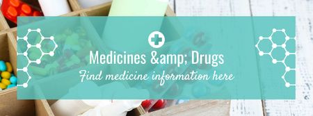 Medicine information with medicines Facebook cover Modelo de Design