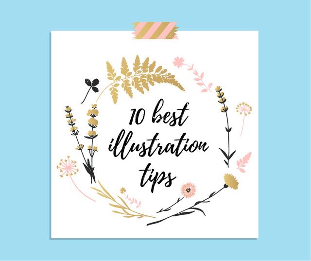 Illustration Tips Flowers Frame Facebook Design Template