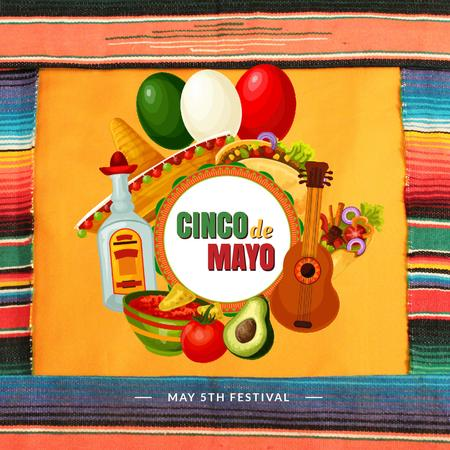 Cynco de Mayo Mexican bright Celebration Animated Post Tasarım Şablonu