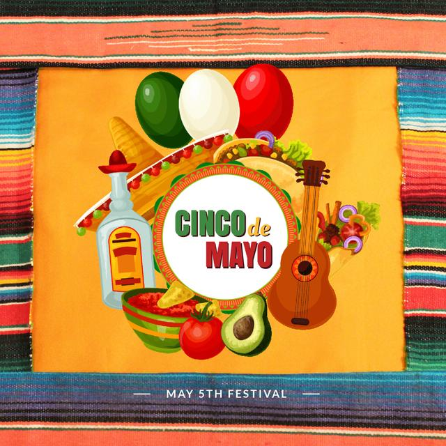 Cynco de Mayo Mexican bright Celebration Animated Postデザインテンプレート