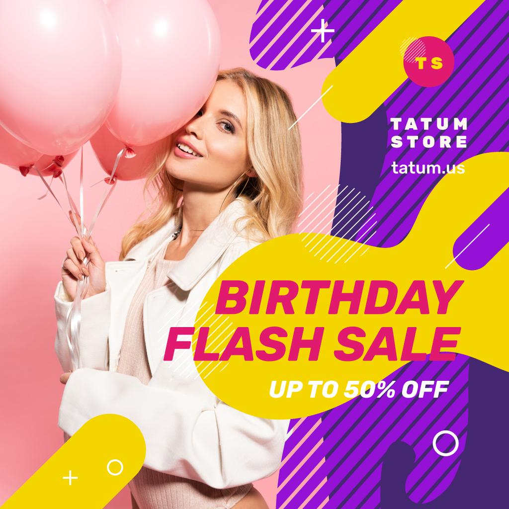 Birthday Fashion Sale Girl with Pink Balloons | Instagram Post Template — Створити дизайн