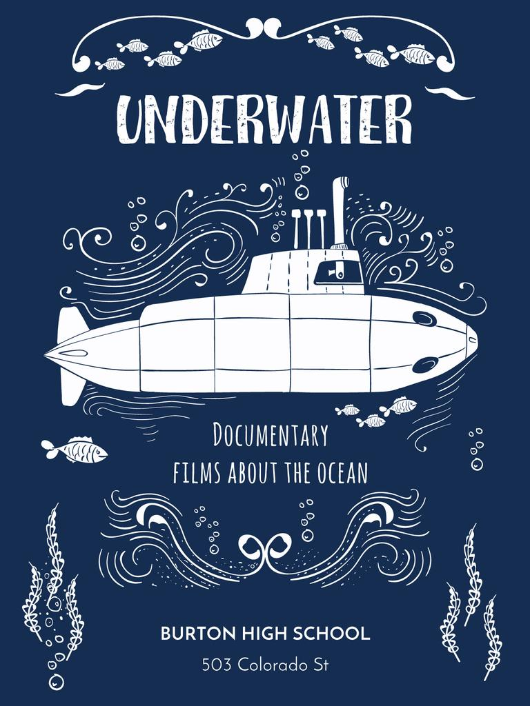 Underwater documentary film with Submarine — Crea un design