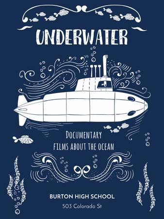 Plantilla de diseño de Underwater documentary film with Submarine Poster US