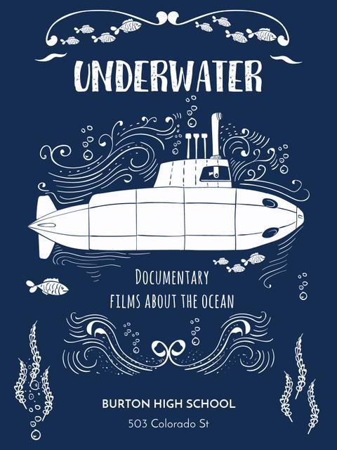 Modèle de visuel Underwater documentary film with Submarine - Poster US