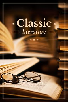 classic literature poster with old circle glasses on book