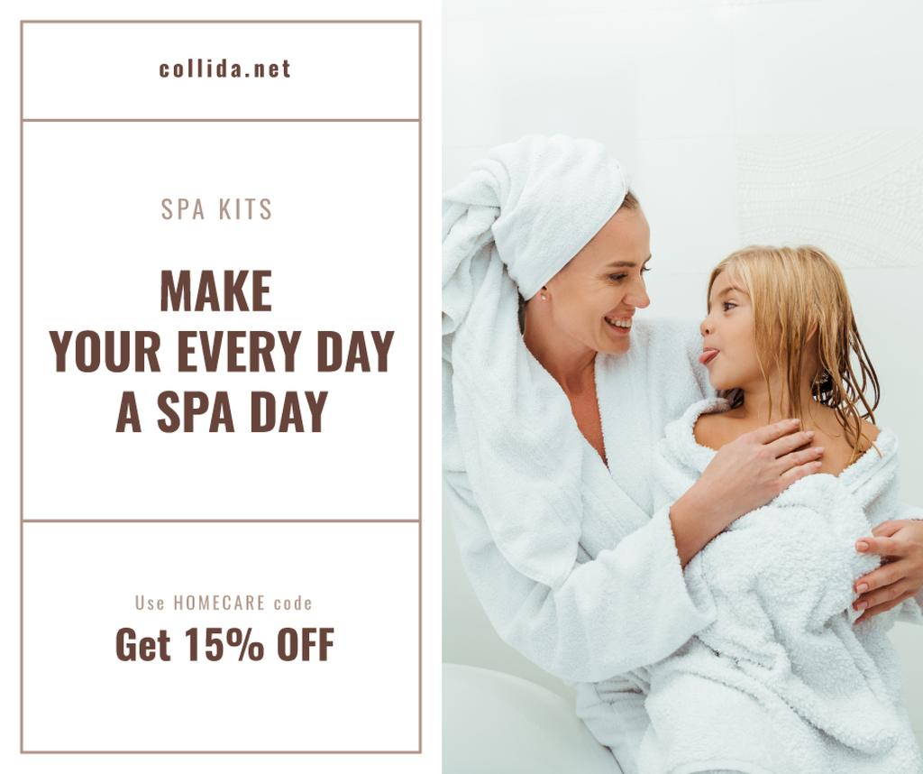 Spa kits Offer with Mother and Daughter in bathrobes —デザインを作成する
