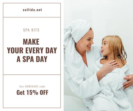 Plantilla de diseño de Spa kits Offer with Mother and Daughter in bathrobes Facebook