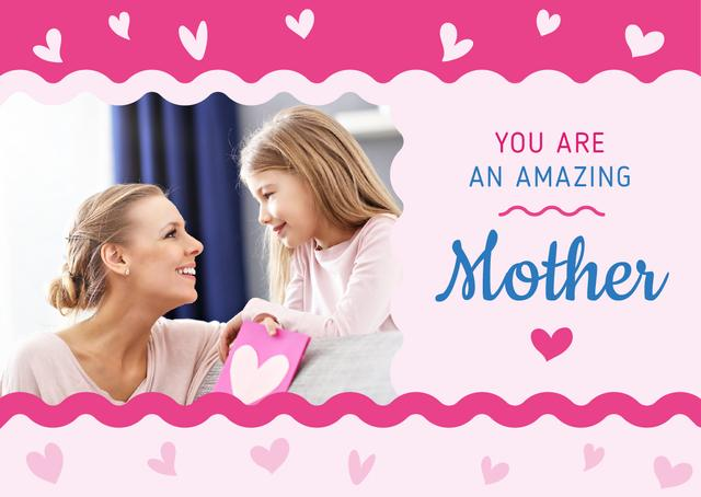 Smiling mother and daughter on Mother's Day Card – шаблон для дизайну