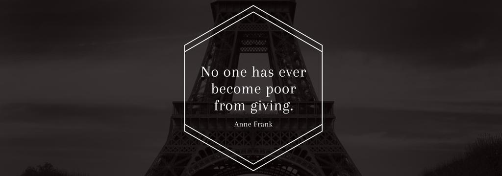 Charity Quote on Eiffel Tower view — Crear un diseño