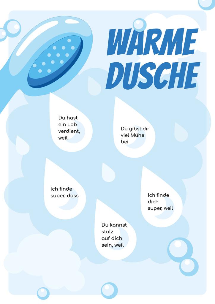 Designvorlage Warm Shower Water Drops für Poster