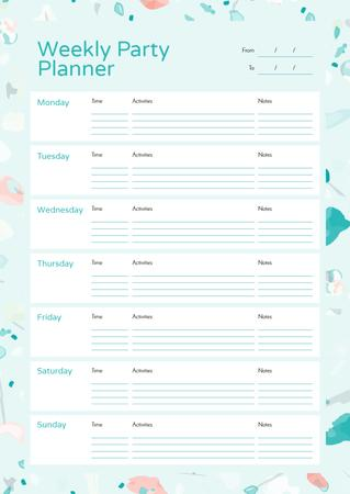 Plantilla de diseño de Weekly Party Planner in Party Attributes Frame Schedule Planner
