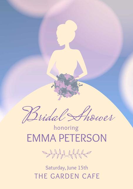 Modèle de visuel Wedding day invitation with Bride's Silhouette - Poster