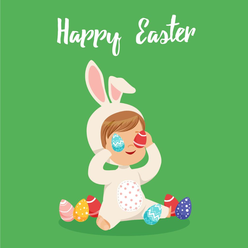 Kid in Easter bunny costume — Modelo de projeto